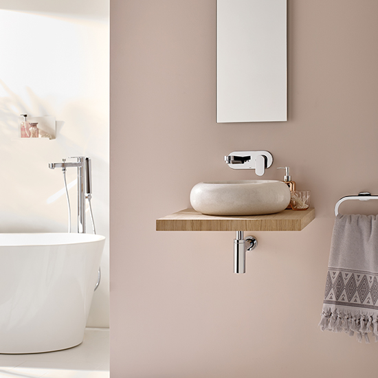 Lifestyle Photograph Featuring Life Product in a Delicate Dusky Pink Bathroom