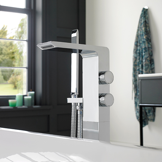 Lifestyle Photograph Featuring an Omika Floor Standing Bath Shower Mixer Tap with Shower KitLifestyle Photograph Featuring an Omika Floor Standing Bath Shower Mixer Tap with Shower Kit