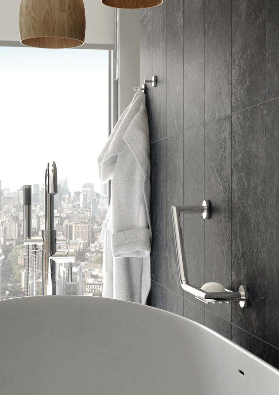 Lifestyle Photograph Featuring an Origins Floor Standing Bath Shower Mixer Tap, Spa Robe Hook and Grab Rail with Basket