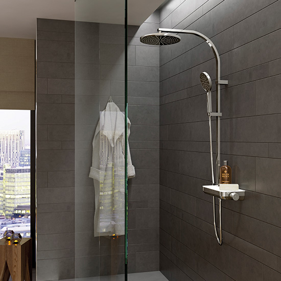 Lifestyle Photograph Featuring a Strata Thermostatic Shower Column