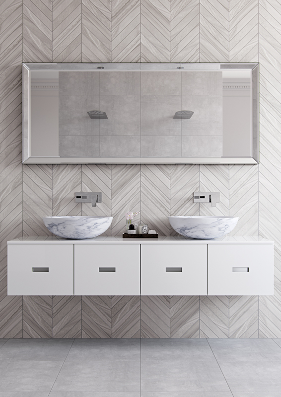 Lifestyle Photograph Featuring Synergie and Aquablade in a Bright, Fresh room with double basin