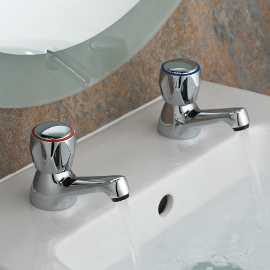 Lifestyle Photograph for a pair of Astra Basin Pillar Taps