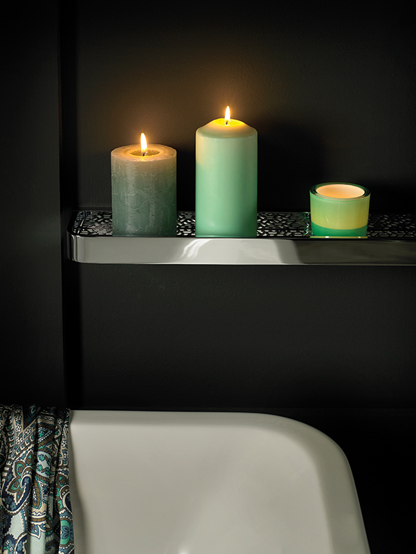 Lifestyle Photograph Featuring an Omika Shelf in a Relaxing Bathroom Setting