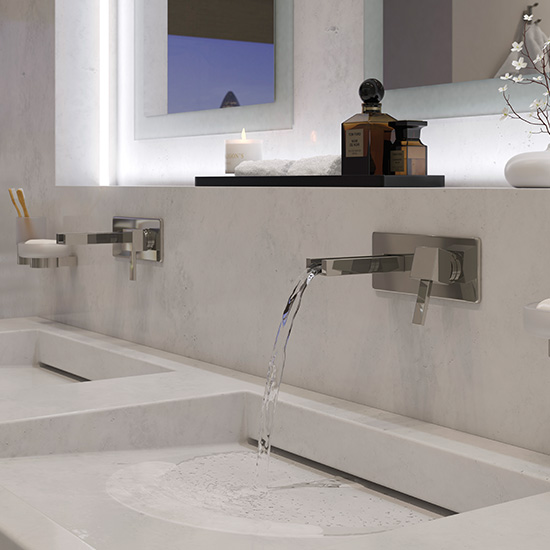 Lifestyle Photograph for a Te Falls Wall Mounted Basin Mixer Tap