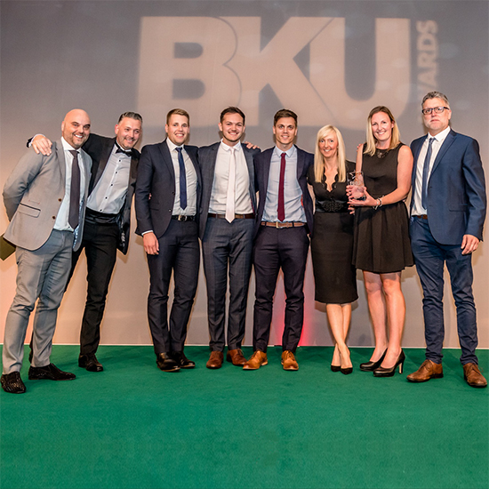 Group Photo of the VADO Marketing Team receiving their BKU Award 'Best Tap Brand'