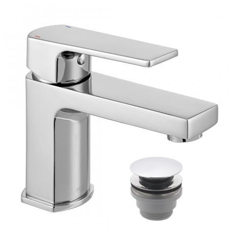 Product Photograph for an Axces by VADO Ekko Mini Mono Basin Mixer with Push Waste