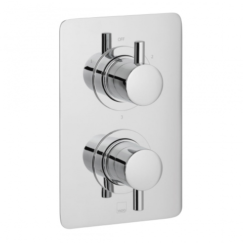 Product Photograph for a DX Celsius Square 3 Outlet 2 Handle Thermostatic Shower Valve