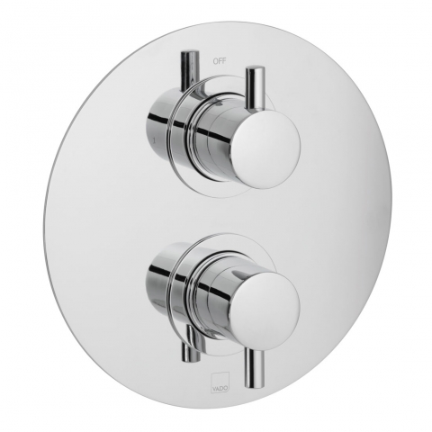 Product Photograph for a DX Celsius Round 1 Outlet 2 Handle Thermostatic Shower Valve
