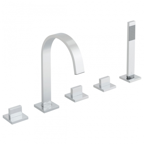 Product Photograph for a Geo 5 Hole Bath Shower Mixer with Shower Kit and Bath Spout