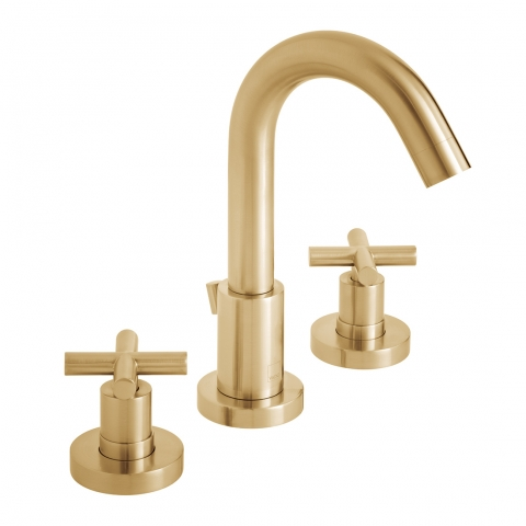 Product Photograph for an Individual by VADO Brushed Gold Elements Deck Mounted Basin Mixer Tap with Pop-up Waste