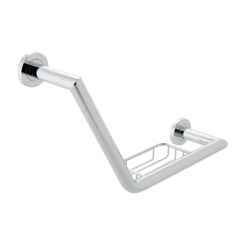 Product Photograph for a Spa 456mm Angled Grab Rail with Basket