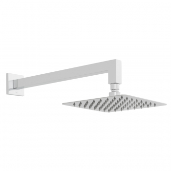 Product Photograph for an Aquablade Square 200mm Shower Head with Shower Arm