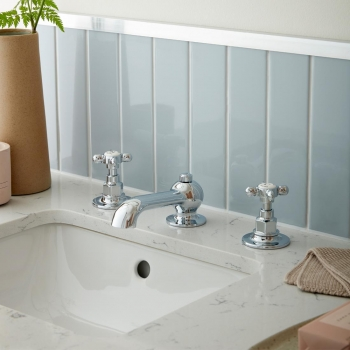 Lifestyle Photograph featuring a BOOTH & Co. Axbridge Deck Mounted Basin Mixer Tap