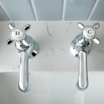 Lifestyle Photograph featuring a pair of BOOTH & Co. Axbridge Basin Pillar Taps