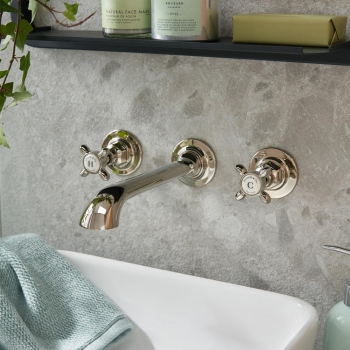 Lifestyle Photograph featuring a BOOTH & Co. Axbridge Wall Mounted Basin Mixer Tap