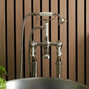 Lifestyle Photograph with a BOOTH & Co. Floor Standing Bath Shower Mixer