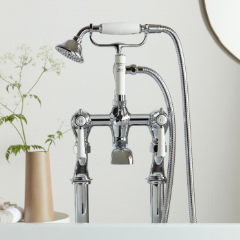 Lifestyle Photograph featuring a BOOTH & Co. Axbridge Floor Standing Bath Shower Mixer with Shower Kit