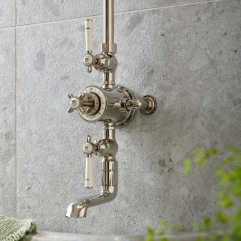 Lifestyle Photograph of a BOOTH & Co. Thermostatic Bath/Shower Column