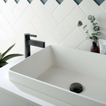 Lifestyle Photograph for an Individual by VADO Brushed Black Edit Mono Basin Mixer Tap