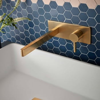Lifestyle Photograph for an Individual by VADO Brushed Gold Edit Wall Mounted Basin Mixer Tap