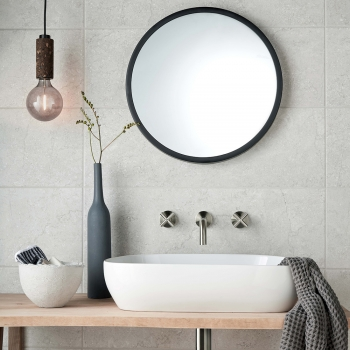 Lifestyle Photograph for an Individual by VADO Brushed Nickel Elements Wall Mounted Basin Mixer Tap