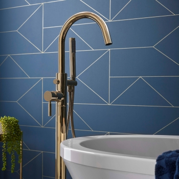 Lifestyle Photograph for an Individual by VADO Bright Gold Floor Standing Bath Shower Mixer with Shower Kit