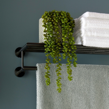 Lifestyle Photograph for an Individual by VADO Brushed Black Spa Towel Rack and Rail