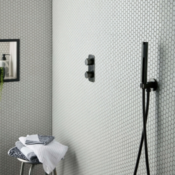 Lifestyle Photograph for an Individual by VADO Brushed Black Shower Set