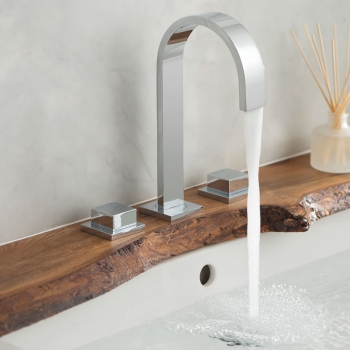 Lifestyle Photograph Featuring a Geo Deck Mounted Basin Mixer Tap