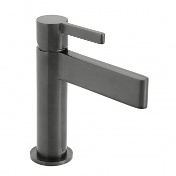 Product Photograph Featuring an Individual by VADO Edit Brushed Black Mono Basin Mixer Tap
