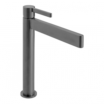 Product Photograph Featuring an Individual by VADO Edit Brushed Black Extended Mono Basin Mixer Tap