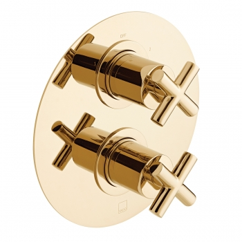 Product Photograph for an Individual by VADO Bright Gold DX Elements 2 Outlet 2 Handle Thermostatic Shower Valve