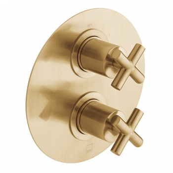 Product Photograph for an Individual by VADO Brushed Gold DX Elements 2 Outlet 2 Handle Concealed Thermostatic Shower Valve