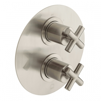 Product Photograph for an Individual by VADO Brushed Nickel DX Elements 2 Outlet 2 Handle Thermostatic Shower Valve