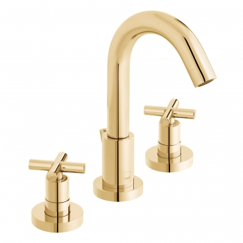 Product Photograph for an Individual by VADO Bright Gold Elements Deck Mounted Basin Mixer Tap with Pop-up Waste