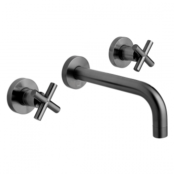 Product Photograph Featuring an Individual by VADO Brushed Black Elements Wall Mounted Basin Mixer Tap