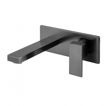 Product Photograph Featuring an Individual by VADO Brushed Black Notion Wall Mounted Basin Mixer Tap