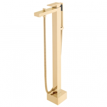 Product Photograph for an Individual by VADO Brushed Gold Notion Floor Standing Bath Shower Mixer with Shower KIt