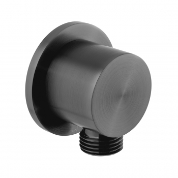 Product Photograph Featuring an Individual by VADO Brushed Black Round Wall Outlet