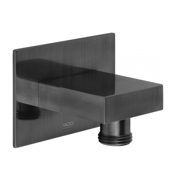 Product Photograph Featuring an Individual by VADO Brushed Black Square Wall Outlet