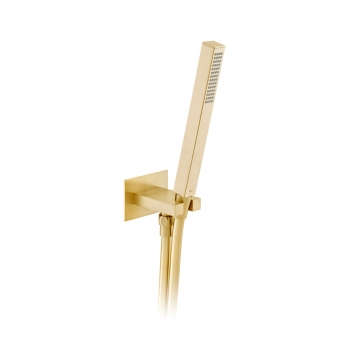 Product Photograph for an Individual by VADO Brushed Gold Square Single Function Mini Shower Kit with Integrated Outlet