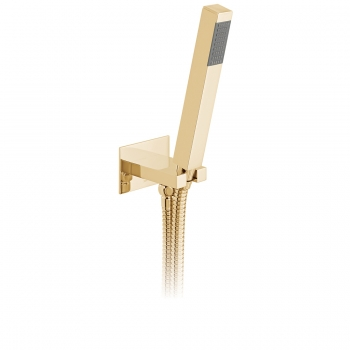 Product Photograph for an Individual by VADO Bright Gold Square Single Function Mini Shower Kit with Integrated Outlet