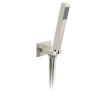 Product Photograph for an Individual by VADO Brushed Nickel Square Single Function Mini Shower Kit with Integrated Outlet