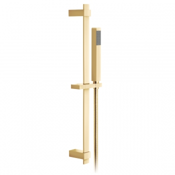 Product Photograph for an Individual by VADO Bright Gold Square Single Function Slide Rail Shower Kit