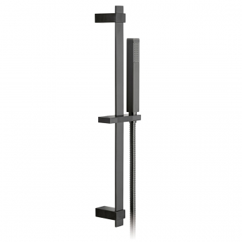 Product Photograph for an Individual by VADO Brushed Black Square Single Function Slide Rail Shower Kit