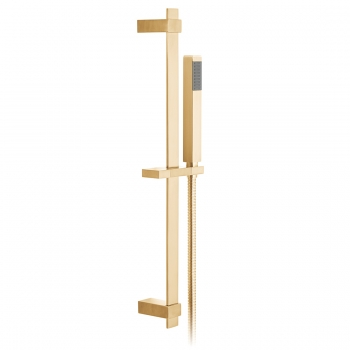 Product Photograph for an Individual by VADO Brushed Gold Square Single Function Slide Rail Shower Kit