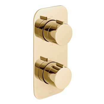 Product Photograph for an Individual by VADO Bright Gold Tablet Altitude 2 Outlet 2 Handle Thermostatic Shower Valve