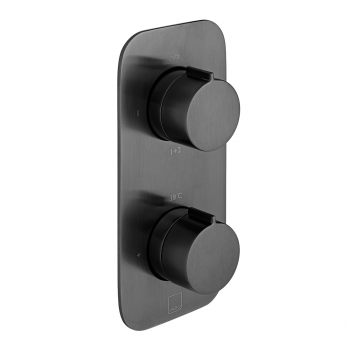Product Photograph Featuring an Individual by VADO Brushed Black Tablet Altitude 2 Outlet 2 Handle Concealed Thermostatic Shower Valve