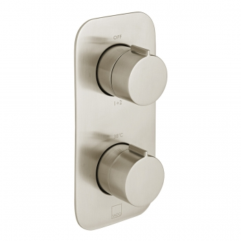 Product Photograph for an Individual by VADO Brushed Nickel Tablet Altitude 2 Outlet 2 Handle Thermostatic Shower Valve