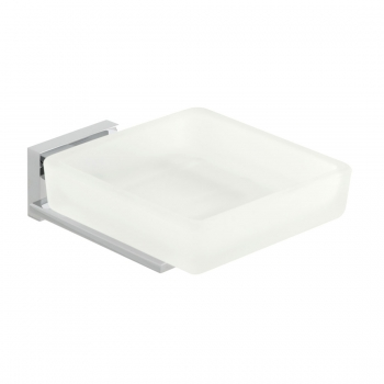 Product Photograph for a Level Frosted Glass Soap Dish and Holder